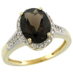 Natural 2.49 ctw Smoky-topaz & Diamond Engagement Ring 14K Yellow Gold - REF-42N2G
