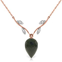 Genuine 12.27 ctw Black Spinel & Diamond Necklace Jewelry 14KT Rose Gold - REF-35A2K