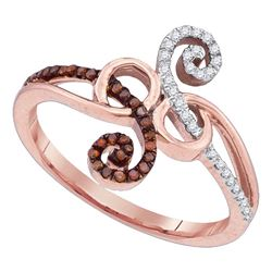 0.20 CTW Red Color Diamond Ring 10KT Rose Gold - REF-22M4H