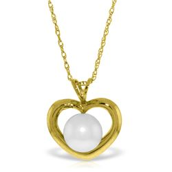Genuine 2 ctw Pearl Necklace Jewelry 14KT Yellow Gold - REF-27V3W