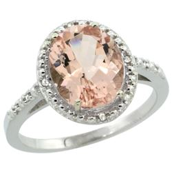 Natural 2.92 ctw Morganite & Diamond Engagement Ring 14K White Gold - REF-58A9V