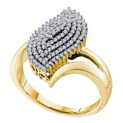 0.40 CTW Diamond Oval Cluster Ring 10KT Yellow Gold - REF-30M2H