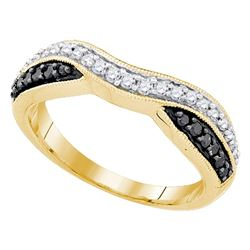 0.33 CTW Black Color Pave-set Diamond Ring 10KT Yellow Gold - REF-22X4Y