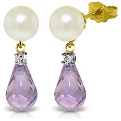 Genuine 6.6 ctw Pearl, Amethyst & Diamond Earrings Jewelry 14KT Yellow Gold - REF-27K6V