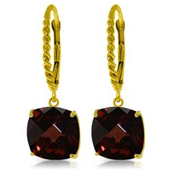 Genuine 9 ctw Garnet Earrings Jewelry 14KT Yellow Gold - REF-52F9Z