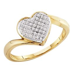 0.05 CTW Diamond Heart Love Cluster Ring 10KT Yellow Gold - REF-10M5H