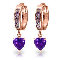 Genuine 4.1 ctw Amethyst Earrings Jewelry 14KT Rose Gold - REF-52H2X