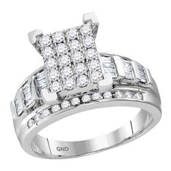 0.92 CTW Diamond Cluster Bridal Engagement Ring 10KT White Gold - REF-59N9F