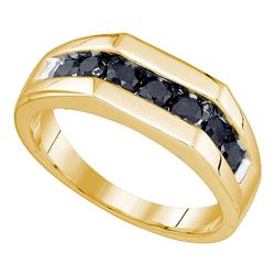 1 CTW Mens Black Color Diamond Wedding Ring 10KT Yellow Gold - REF-30M2H