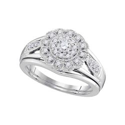 0.30 CTW Diamond Floral Halo Bridal Engagement Ring 10KT White Gold - REF-49F5N