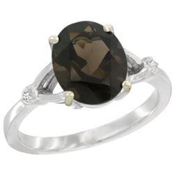 Natural 2.41 ctw Smoky-topaz & Diamond Engagement Ring 14K White Gold - REF-33Y8X