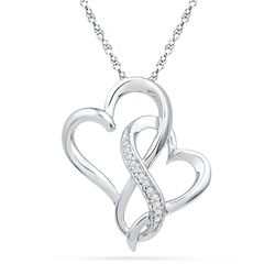 0.03 CTW Diamond Double Linked Joined Heart Pendant 10KT White Gold - REF-10M5H