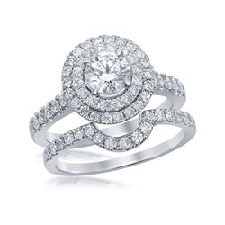 1.75 CTW Certified Diamond Double Halo Bridal Engagement Ring 14k White Gold - REF-359N9F
