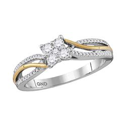 0.26 CTW Diamond Cluster Promise Bridal Ring 10KT Two-tone Gold - REF-30Y2X