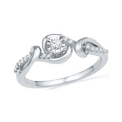 0.13 CTW Diamond Solitaire Bridal Engagement Ring 10KT White Gold - REF-19F4N