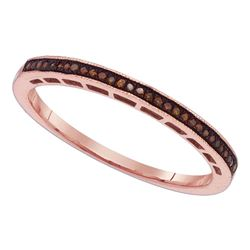 0.07 CTW Red Color Diamond Slender Wedding Anniversary Ring 10KT Rose Gold - REF-13N4F