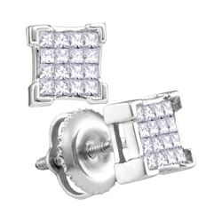 0.29 CTW Princess Diamond Square Cluster Screwback Earrings 10KT White Gold - REF-22M4H