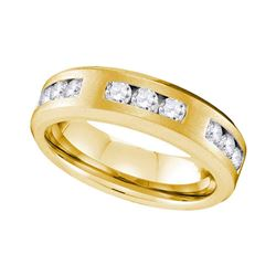 1 CTW Mens Diamond Wedding Anniversary Ring 10KT Yellow Gold - REF-127H4M