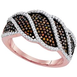 0.76 CTW Red Color Diamond Ring 10KT Rose Gold - REF-79N4F