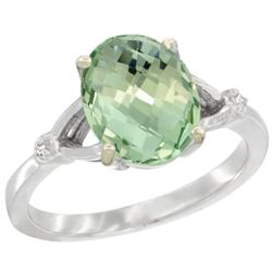 Natural 2.41 ctw Green-amethyst & Diamond Engagement Ring 10K White Gold - REF-24H6W