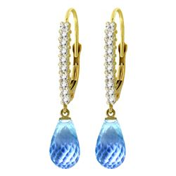 Genuine 4.8 ctw Blue Topaz & Diamond Earrings Jewelry 14KT Yellow Gold - REF-53T2A