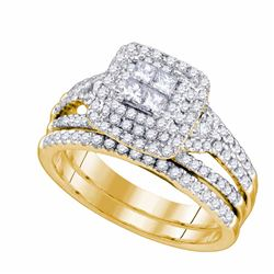 0.97 CTW Princess Diamond Bridal Engagement Ring 14KT Yellow Gold - REF-127M4H