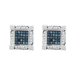0.79 CTW Mens Blue Color Diamond 3D Cube Square Earrings 10KT White Gold - REF-49F5N