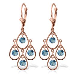 Genuine 2.4 ctw Blue Topaz Earrings Jewelry 14KT Rose Gold - REF-54K9V