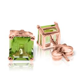 Genuine 1.75 ctw Peridot Earrings Jewelry 14KT Rose Gold - REF-24Z3N