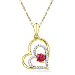 0.45 CTW Created Ruby Heart Love Pendant 10KT Yellow Gold - REF-12M2H