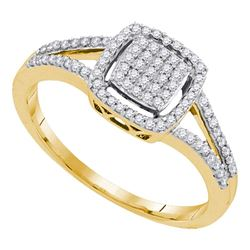 0.25 CTW Diamond Square Cluster Split-shank Ring 10KT Yellow Gold - REF-25N4F