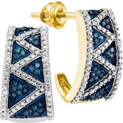 0.10 CTW Blue Color Diamond Half J Hoop Earrings 10KT Yellow Gold - REF-25K4W