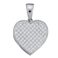 0.25 CTW Diamond Heart Pendant 10KT White Gold - REF-19K4W