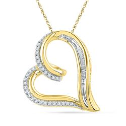 0.16 CTW Diamond Heart Outline Pendant 10KT Yellow Gold - REF-22K4W