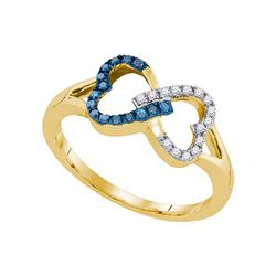 0.15 CTW Blue Color Diamond Heart Love Ring 10KT Yellow Gold - REF-14N9F