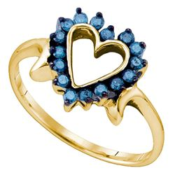 0.25 CTW Blue Color Diamond Heart Love Ring 10KT Yellow Gold - REF-18X2Y