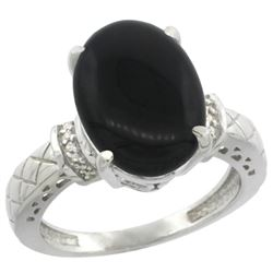 Natural 5.53 ctw Onyx & Diamond Engagement Ring 10K White Gold - REF-38X2A