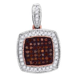 0.20 CTW Red Color Diamond Square Cluster Pendant 10KT Rose Gold - REF-25H4M
