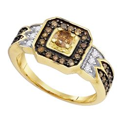 0.68 CTW Enhance Cognac Brown Diamond Bridal Ring 10KT Yellow Gold - REF-34M4H