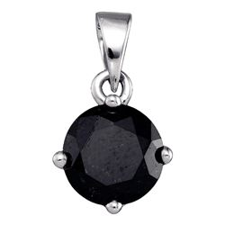 2 CTW Black Color Diamond Solitaire Pendant 10KT White Gold - REF-34Y4X