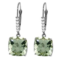 Genuine 7.35 ctw Green Amethyst & Diamond Earrings Jewelry 14KT White Gold - REF-57N3R