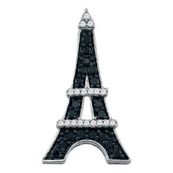 0.33 CTW Black Color Diamond Eiffel Tower France Pendant 10KT White Gold - REF-18X2Y