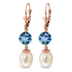 Genuine 11.10 ctw Blue Topaz Earrings Jewelry 14KT Rose Gold - REF-26N6R