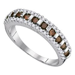 0.50 CTW Cognac-brown Color Diamond Triple Row Ring 10KT White Gold - REF-22W4K