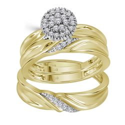 0.25 CTW Diamond His & Hers Matching Trio Engagement Bridal Ring 10KT Yellow Gold - REF-44M9H