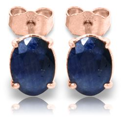 Genuine 2 ctw Sapphire Earrings Jewelry 14KT Rose Gold - REF-21X9M