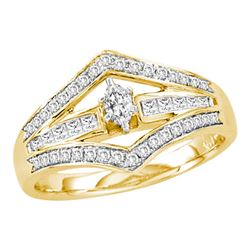 0.49 CTW Marquise Diamond Marquise Bridal Engagement Ring 14KT Yellow Gold - REF-65X9Y