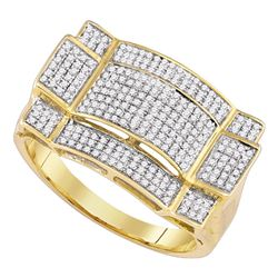 0.50 CTW Mens Diamond Rectangle Cluster Ring 10KT Yellow Gold - REF-37F5N