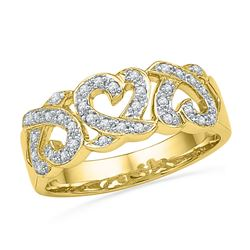 0.20 CTW Diamond Triple Heart Ring 10KT Yellow Gold - REF-22W4K