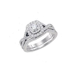 0.75 CTW Diamond Bridal Wedding Engagement Ring 14KT White Gold - REF-104N9F